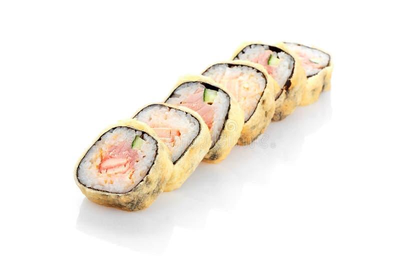 Tempura quente de Edo do rolo, salmão, atum, queijo creme imagem de stock royalty free
