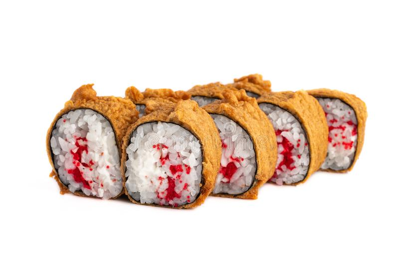 Tempura roll in batter with cream cheese and tobiko caviar isolated on white stock photo
