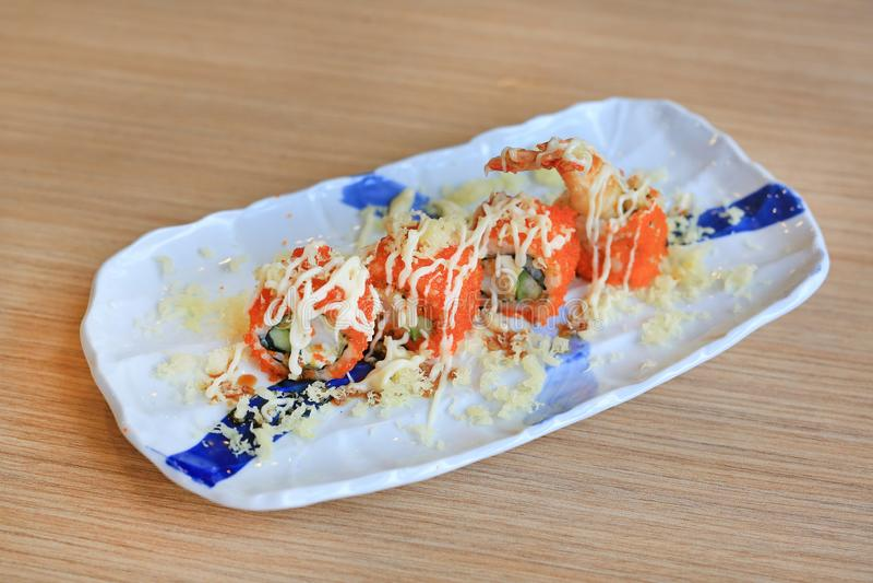 Tempura Roll, Traditional Japanese food.  royalty free stock photography
