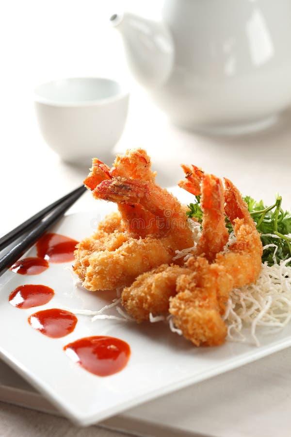 Tempura shrimp. On white plate royalty free stock image