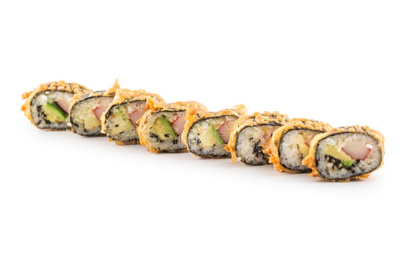 Tempurasushi maki japanisches traditionelles Lebensmittel lizenzfreie stockfotos