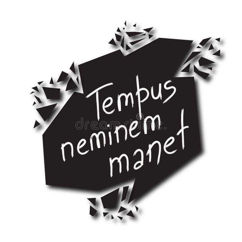 Tempus-neminemmanet - Tid väntar på inget i latin royaltyfri illustrationer