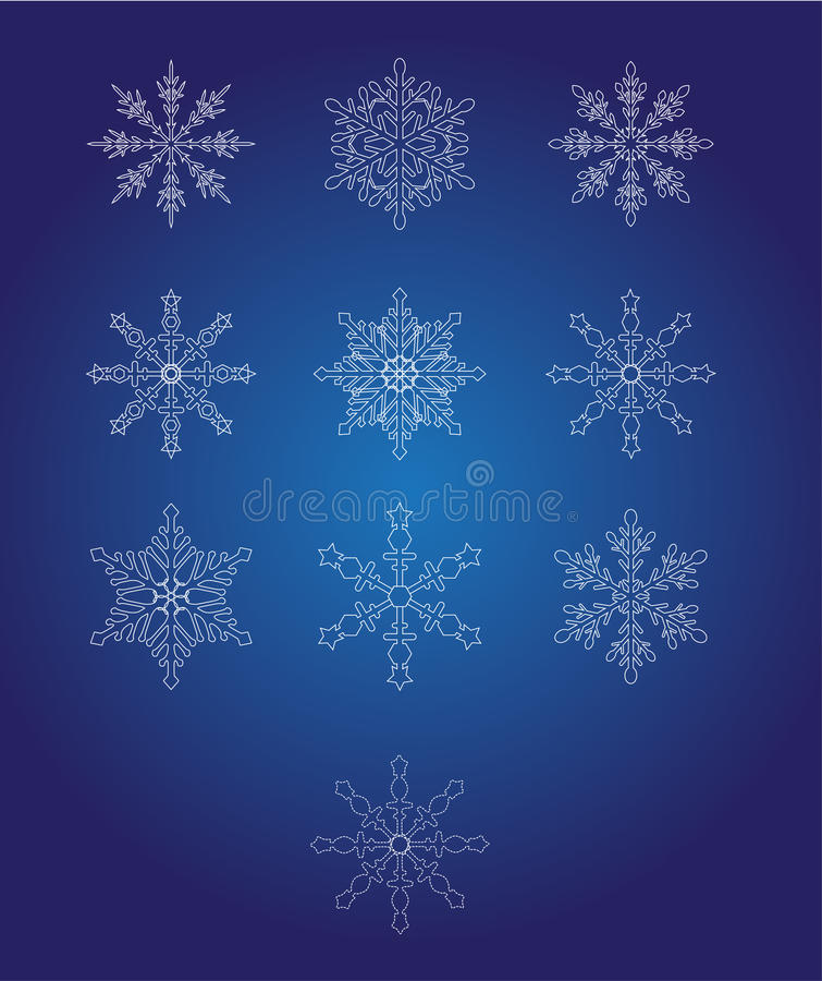Ten beautiful snowflakes royalty free illustration