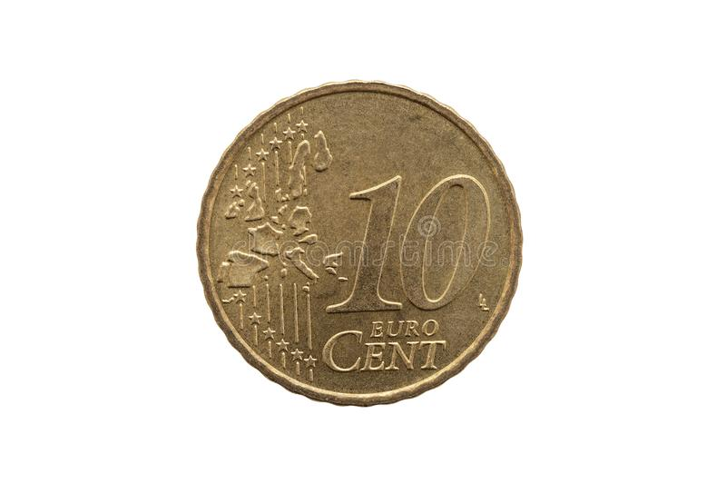Ten cent euro coin of Germany. Dated 2002 cut out and isolated on a white background stock photography