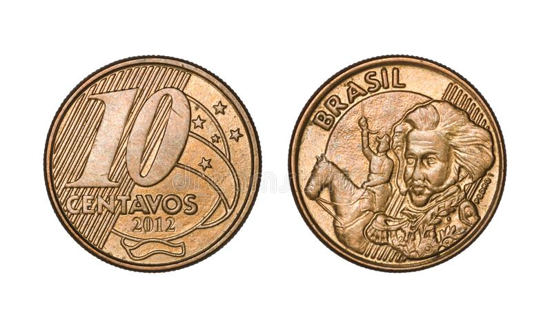 Ten cents brazilian real coin, front and back faces stock image