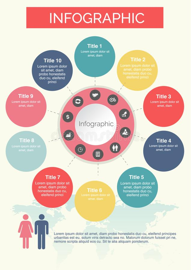 Ten circles Infographics Colorful with icons design royalty free illustration