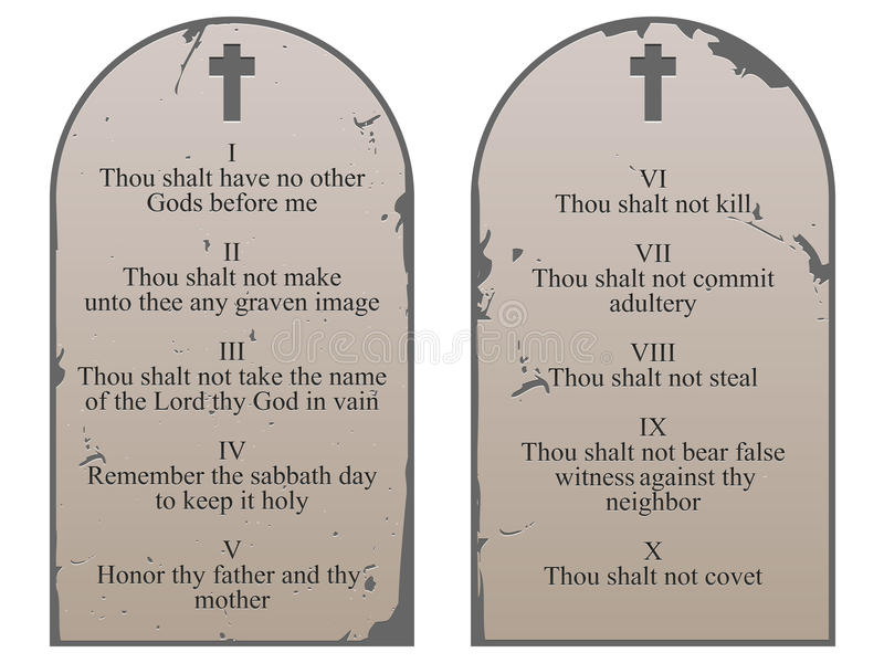 Ten Commandments. An illustration of the 10 commandments from Exodus 20 royalty free illustration