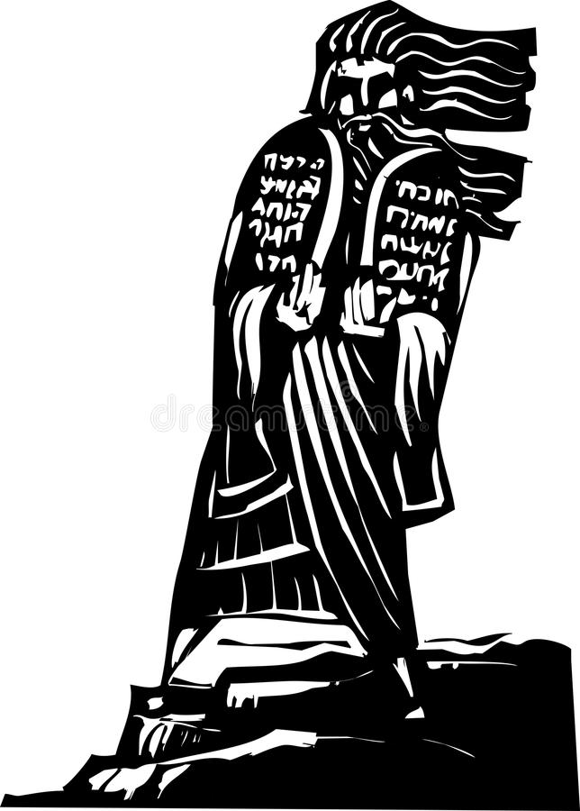 Ten Commandments. Woodcut style image of the Biblical Moses bringing the ten commandments down from the mountain stock illustration