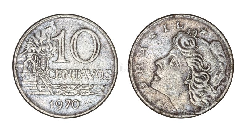 Ten cruzeiros cents brazilian old coin 1970, front and back faces isolated on white background. With clipping path - Old Coins From Brazil stock photo