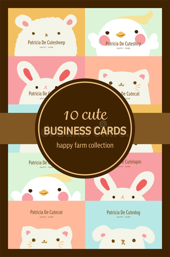 Ten Cute Pastel Animal Business Cards Stock Illustration ...