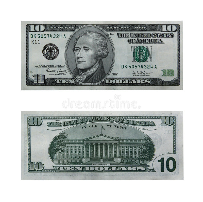 Ten dollar bill with path stock photography