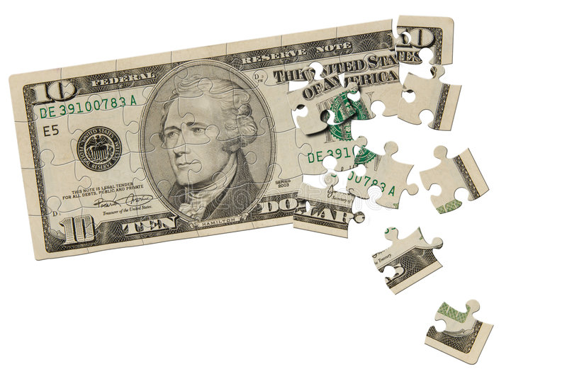 Download Ten dollar bill puzzle stock photo. Image of gift, puzzle - 3165300