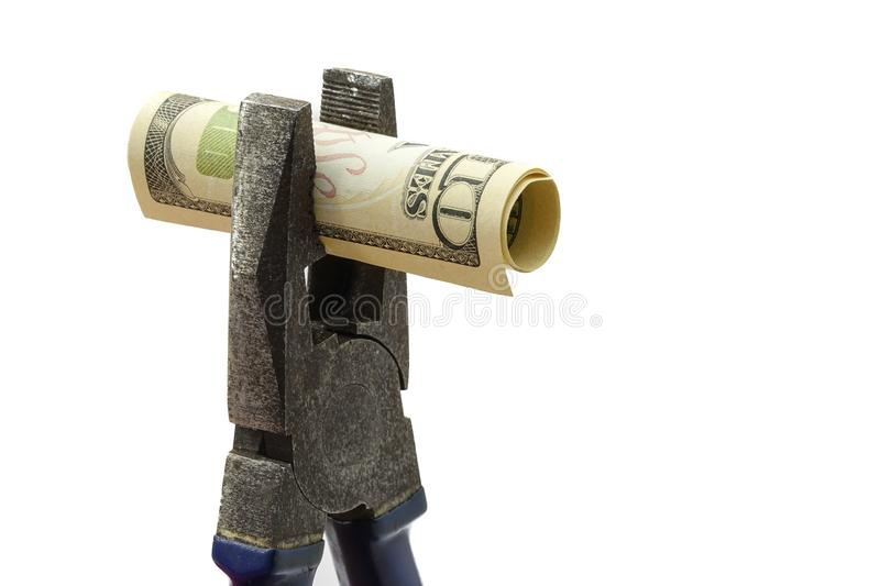 Concept of money is tight and US economy budget royalty free stock photo