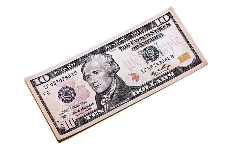 Ten dollar denomination isolated on a white backgr royalty free stock image