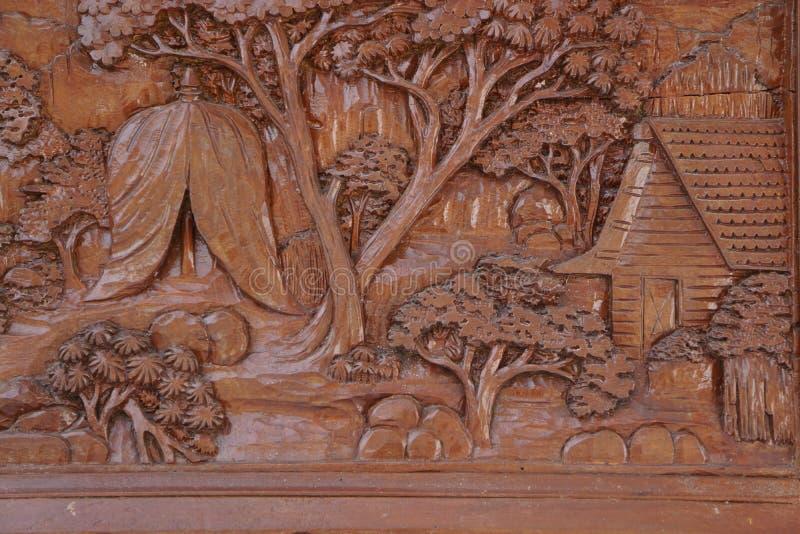 Ten drewniany panel delikatnych cyzelowania na nim zdjęcia royalty free
