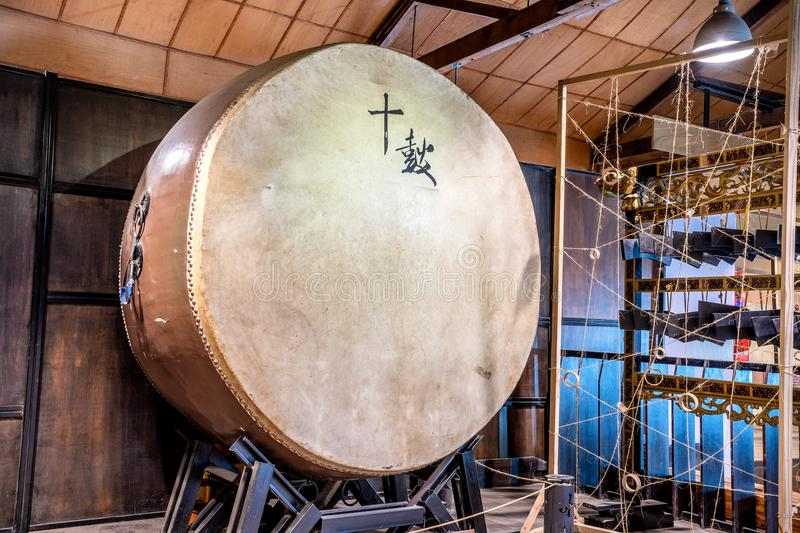 Ten drum culture area in Tainan which is reconstruction. From old sugar factory with chinese words that mean `Ten Drum stock photo