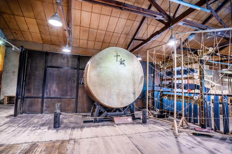 Ten drum culture area in Tainan which is reconstruction. From old sugar factory with chinese words that mean `Ten Drum stock photos