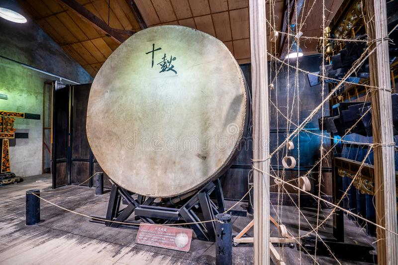 Ten drum culture area in Tainan which is reconstruction. From old sugar factory with chinese words that mean `Ten Drum stock images