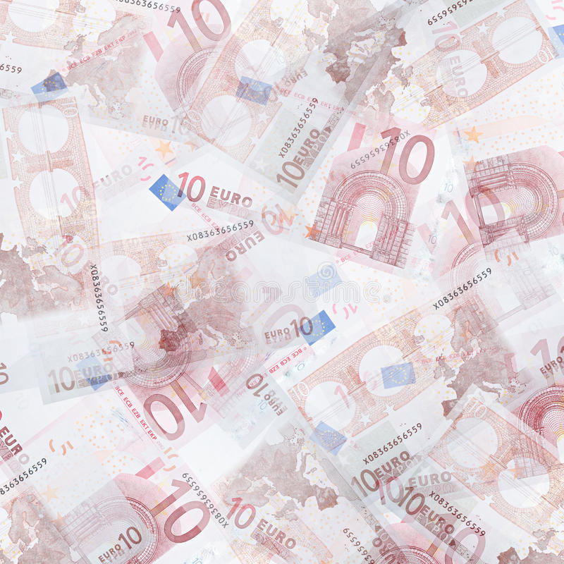 Ten euro background. Abstract money background from translucent ten euro royalty free stock photos