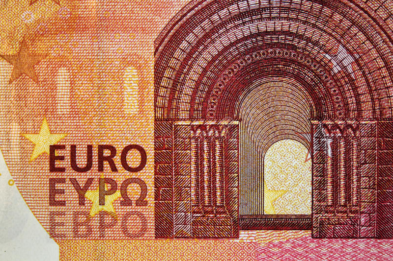 Ten euro banknote 10. Original photo part of new ten euro banknote royalty free stock images