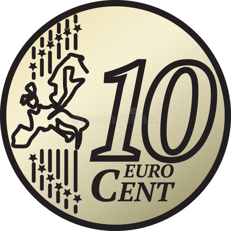 Ten Euro Cent Coin. European Union 10 Euro Cent Coin vector illustration stock illustration