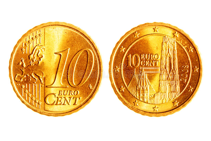 Ten euro cents coins. Isolated over white background stock photos