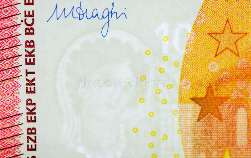 Ten Euro paper currency signature and watermark. Ten Euro paper currency detail with the right corner including Mario Draghi governor signature and European royalty free stock photo
