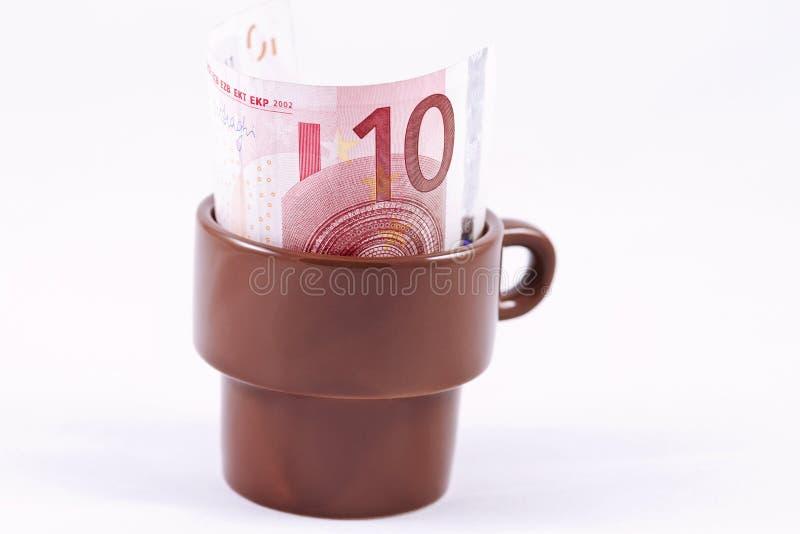 Ten Euro tip the waiter left royalty free stock images