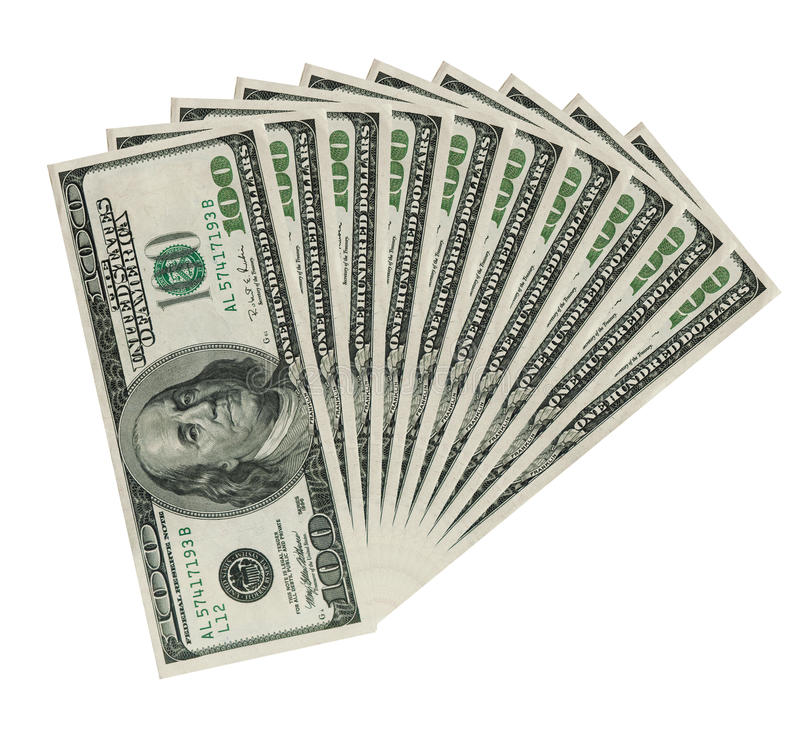 Download Ten Hundreds Dollar Bank Notes, Clipping Patch Stock Photo - Image: 13511406