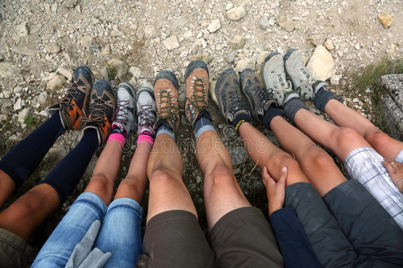 Ten legs of family of five person. In mountain royalty free stock photo