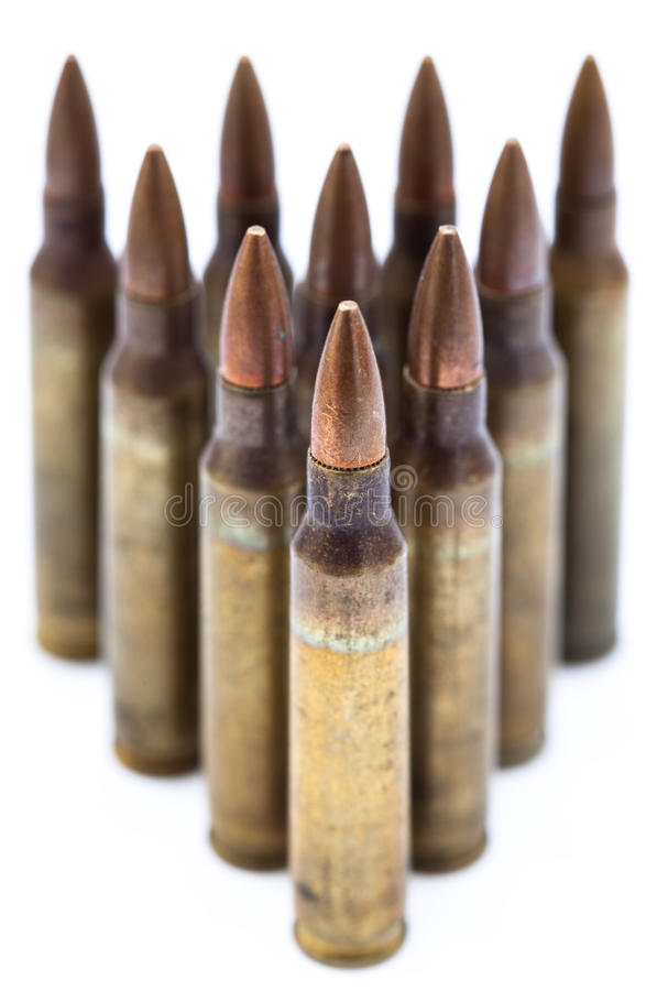 Isolated 5.56 Bullets royalty free stock images