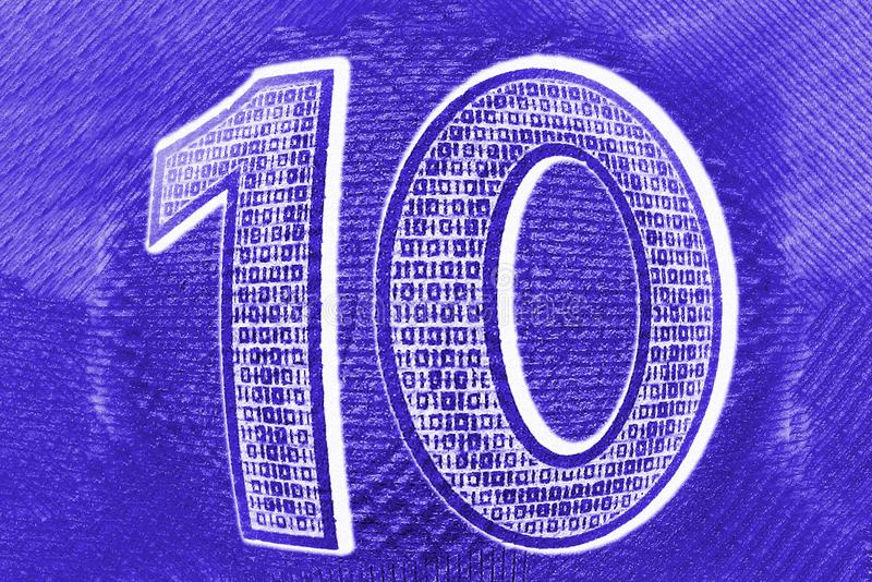 Ten number 10. Fisheye macro close up of blue textured figures on blurred background as rating symbol royalty free illustration
