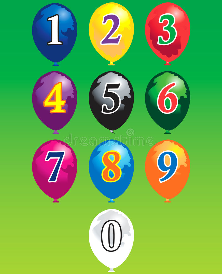 Ten numbers over balloons royalty free illustration