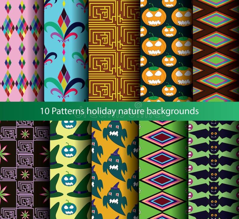 Download Ten Patterns Backgrounds Nature Seamless. Stock Illustration - Illustration of background, wallpaper: 45575905