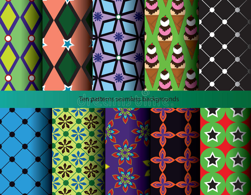 Ten Patterns Nature Backgrounds Seamless. Stock Illustration