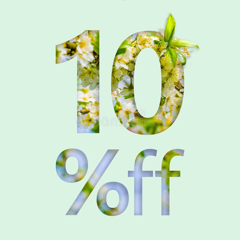 10% ten percent off discount. The creative concept of spring sale, stylish poster, banner, promotion, ads. royalty free stock photos