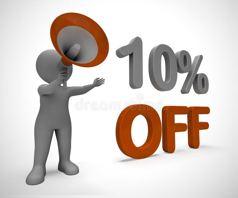 Ten percent off discount reduction showing 10% less price - 3d illustration. Ten percent off discount reduction showing 10% less price. Special offer discounted vector illustration