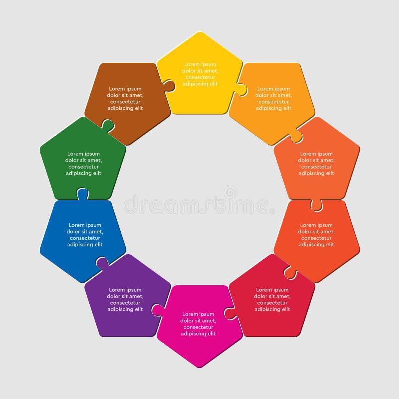Ten pieces puzzle pentagon diagram info graph. Ten pieces puzzle pentagon diagram. Pentagons business presentation infographic. 10 steps, parts, pieces of stock illustration
