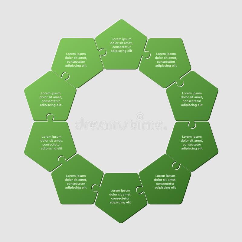 Ten pieces puzzle pentagon diagram info graphic. Ten pieces puzzle pentagon diagram. Pentagons business presentation infographic. 10 steps, parts, pieces of vector illustration