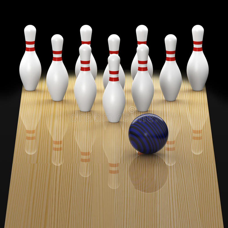 Ten pin bowling in action royalty free illustration