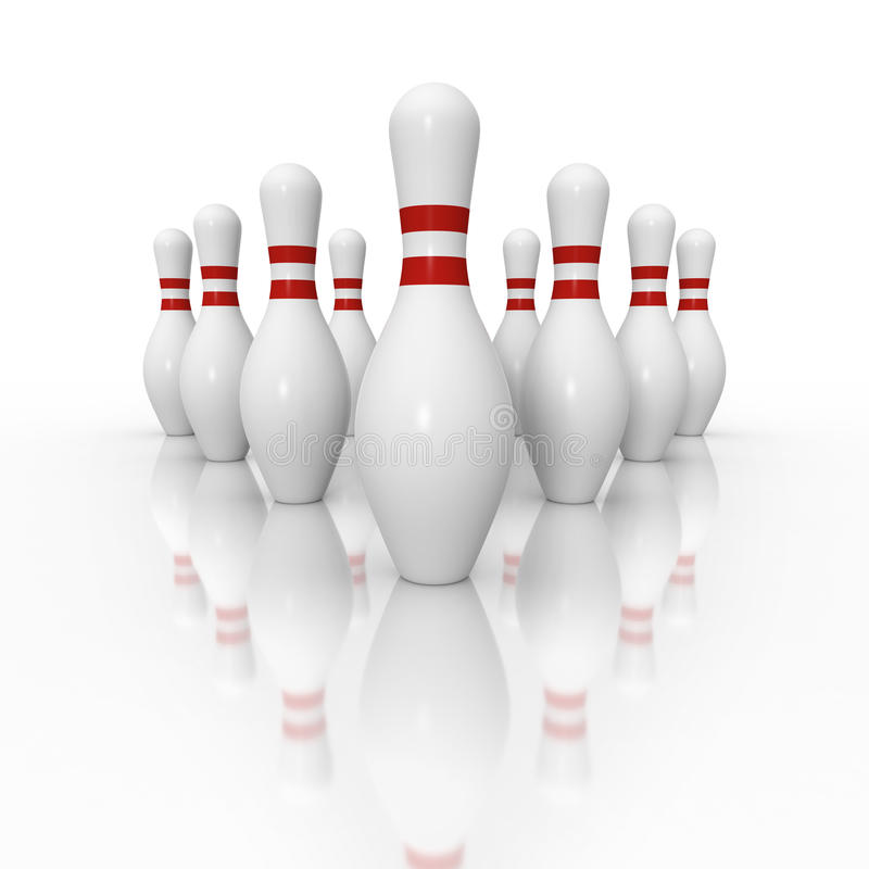 Ten pin bowling setup with reflection royalty free stock images