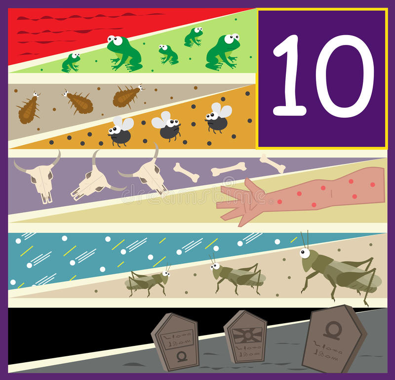 The Ten Plagues. An illustration of the ten plagues of Egypt. Eps10 vector illustration