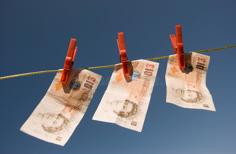 Ten Pound Notes on a Washing Line stock image