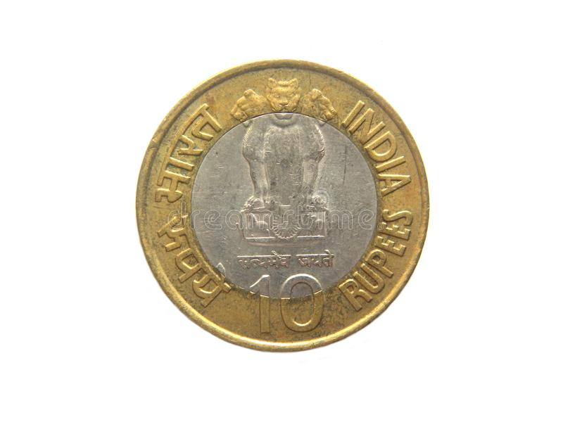 Yellow 10 Rupees Coin. Ten Rupees Coin India on white background royalty free stock images