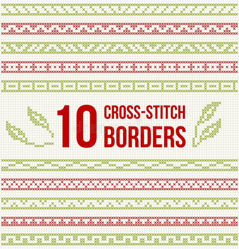 Ten seamless borders for Cross-stitch embroidery stock illustration