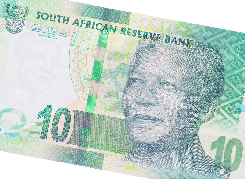 Ten South African Rand. Part of a complete banknote royalty free stock image