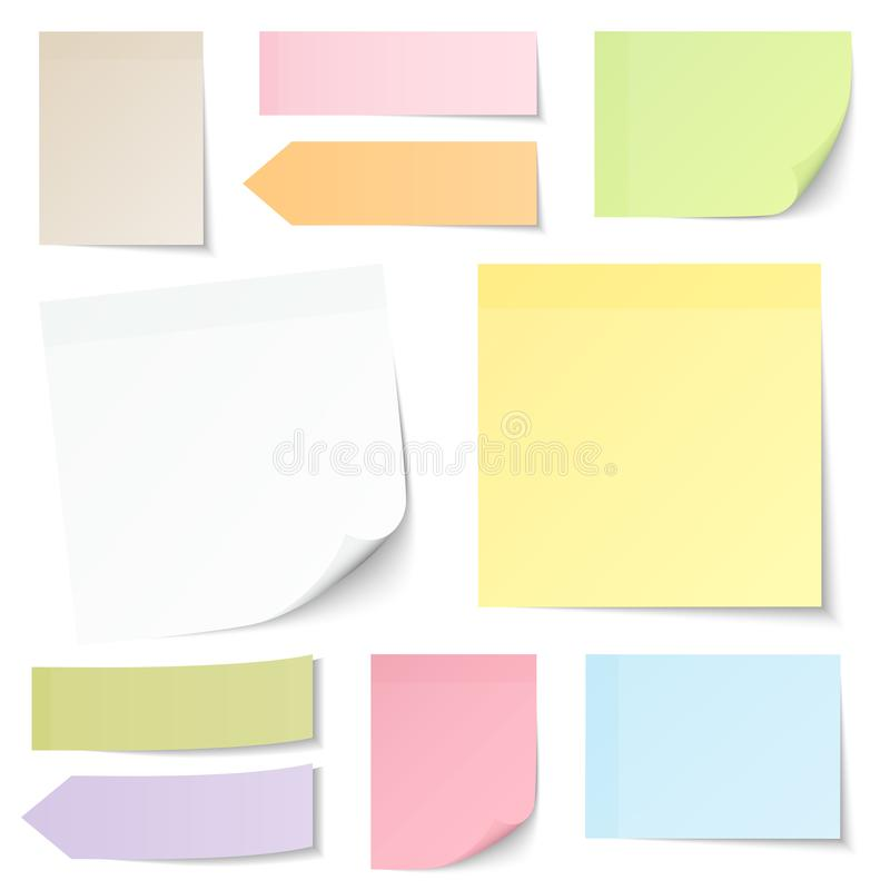 Ten Sticky Notes With Different Colors vector illustration