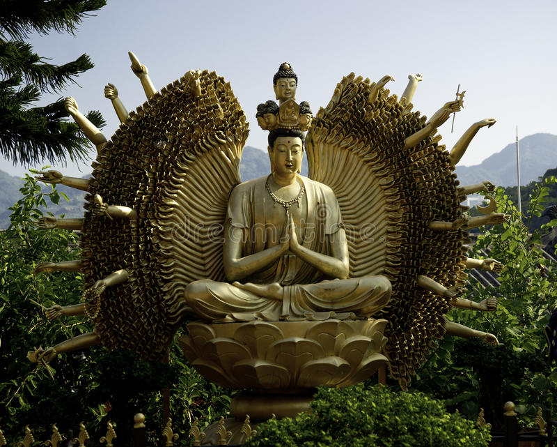Ten Thousand Buddhas Monastery in Hong Kong stock images