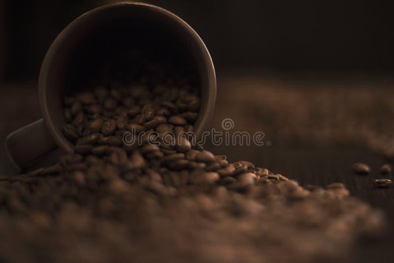 Ten val gebrachte bruine koffiekop en geroosterde koffiebonen op donkere keukenlijst stock foto