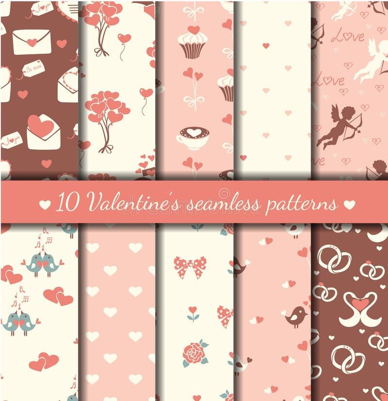 Ten valentine's seamless patterns stock illustration